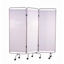 Paravent, inox, 3 panneaux avec rideaux tendus blancs