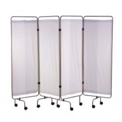 Paravent, inox, 4 panneaux avec rideaux tendus blancs