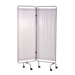 Paravent, inox, 2 panneaux avec rideaux tendus blancs
