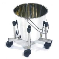 Bac à Déchets roulant Inox - Diam 40 cm x 36 cm (h)